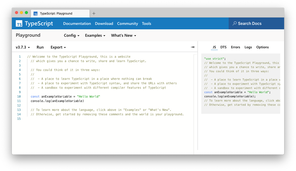 Preview of the TypeScript Playground screenshot