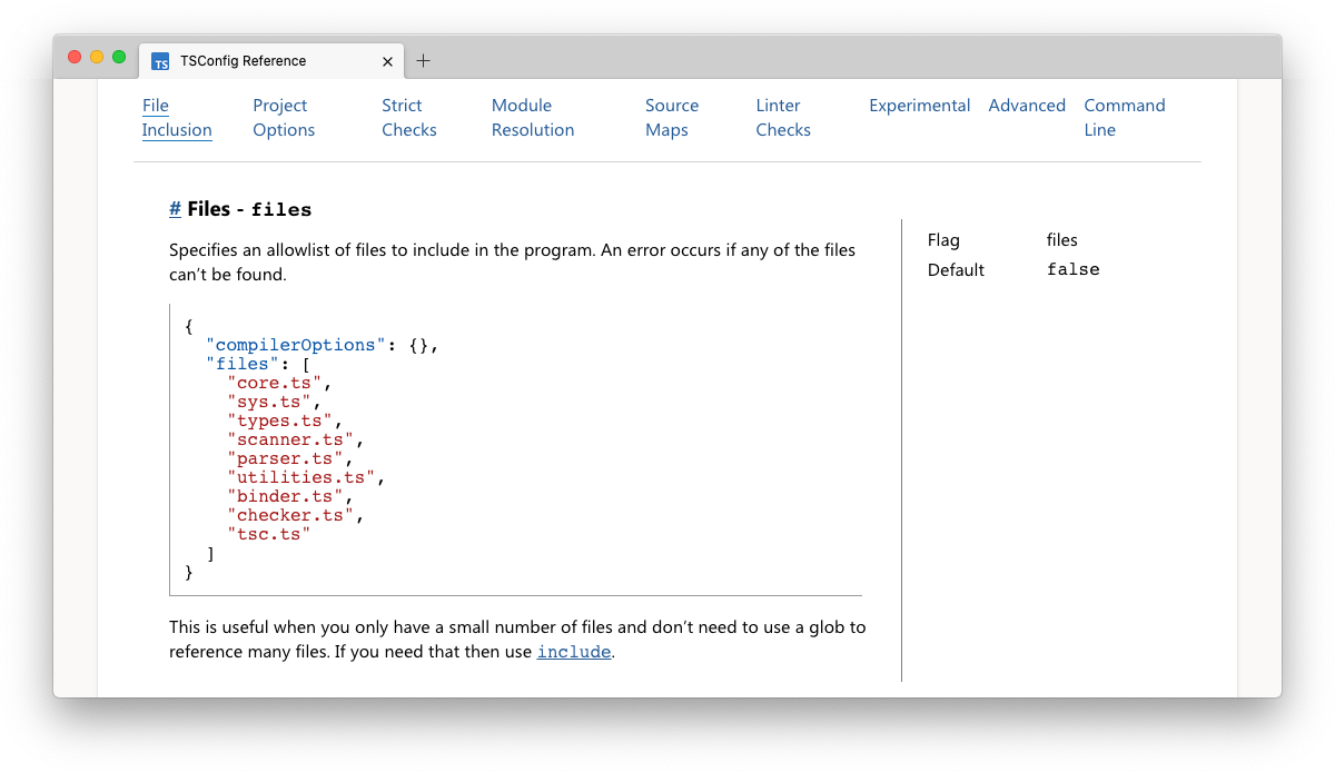 Preview of the TypeScript TSConfig Reference screenshot